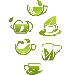 Herbal tea cups with green leaves vector image vector image