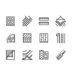 linoleum black line icons set vector image