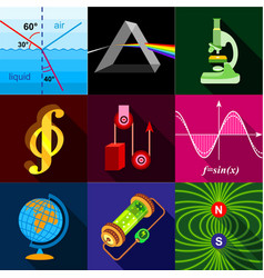 science research icons set flat style vector image vector image