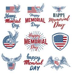 set of happy memorial day labels design elements vector image