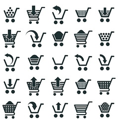 Shopping cart icons isolated on white background vector image vector image