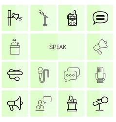 14 speak icons vector