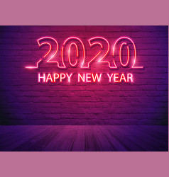 2020 happy new year with neon light alphabet vector image