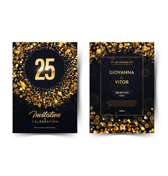 25th years birthday black paper luxury vector
