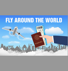 airplane fly around world and hand passport vector image