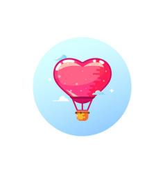 airship balloon heart stylish icon in flat style vector image