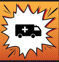 Ambulance sign comics style vector
