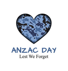 Anzac day card with camouflage heart vector