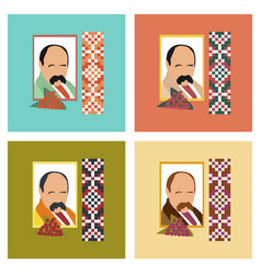 assembly flat icons education ukrainian portrait vector image