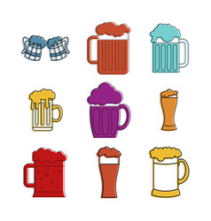 beer glass icon set color outline style vector image