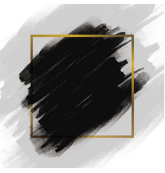 Black brush stroke with gold frame vector