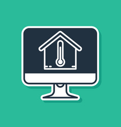 Blue computer monitor with house temperature icon vector