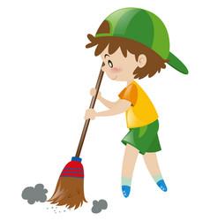 boy sweeping floor with broom vector image