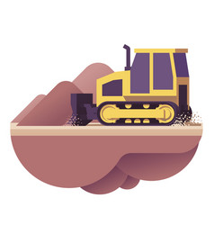 bulldozer icon vector image