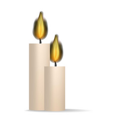 burning candle icon realistic style vector image