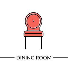 Chair dining furniture line icon vector