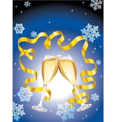 Christmas postcard with two glass of champagne vector