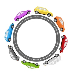 Circle Road Frame with Colorful Cars Isolated on vector