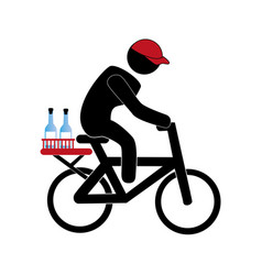 Color pictogram with delivery man in bike vector