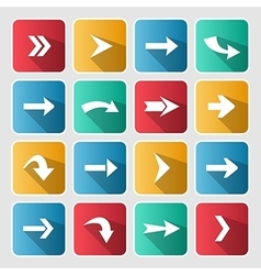 Colorful arrow rounded square icon set vector image