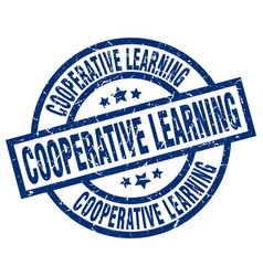Cooperative learning blue round grunge stamp vector