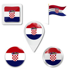 Croatia wavy flag and coat arms against white vector