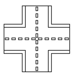 Crossroad icon outline style vector