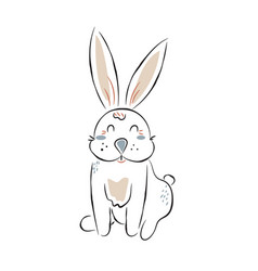cute bunny cartoon in hand drawn outline style vector image