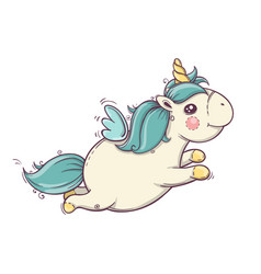 Cute flying unicorn unicorn isolated icon vector