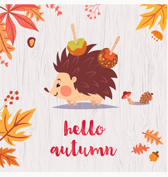 cute hello autumn card vector image