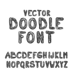 doodle font abc hand drawn style alphabet letters vector image