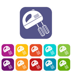 Electric mixer icons set vector