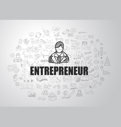 Entrepreneur concept with business doodle design vector