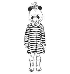 Fashion of cute panda girl kid vector
