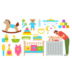 Father with baby dad bathing kid parenting man vector