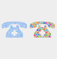 first aid phone mosaic icon triangle vector image