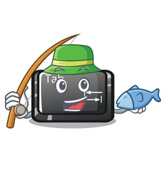 Fishing tab button attached to cartoon keyboard vector