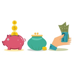 Flat design money concept icons vector image