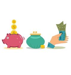 Flat design money concept icons vector