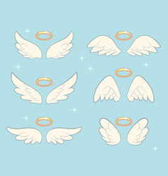 Flying angel wings with gold nimbus angelic wing vector