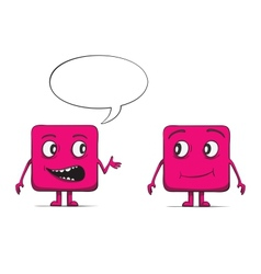 Funny cube dudes talking Square characters vector image