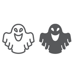 ghost line and glyph icon fear and halloween vector image