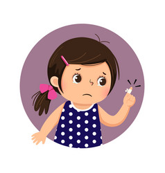Girl looking at her finger with adhesive bandage vector