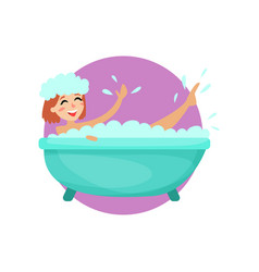 girl taking a bubble bath in a vintage bathtub vector image