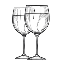 Glass wine freehand pencil drawing vector