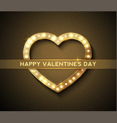 gold vintage heart for greeting valentines day vector image