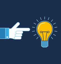 hand pointing on lit bulb new idea business vector image