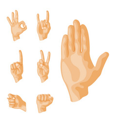 Hands deaf-mute different gestures human arm vector