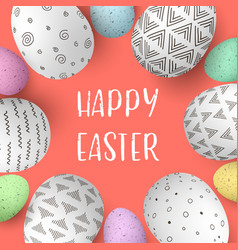 happy easter eggs in frame with text colorful vector image