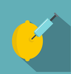 Injection of lemon icon flat style vector